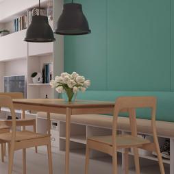 北欧风格绿色餐饮客厅设计图