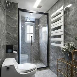 现代风三居洗浴室灰色砖设计图