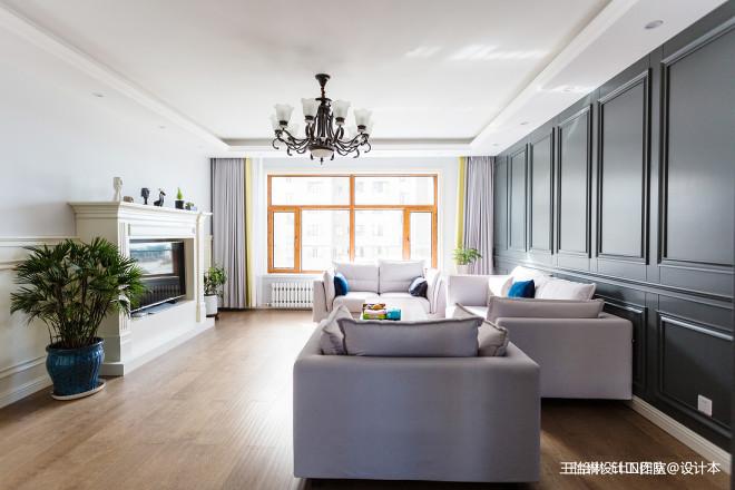 美式四居客厅设计实景