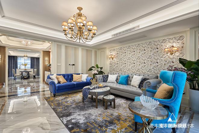 270㎡美式轻奢客厅设计