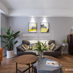 现代三居客厅背景画设计