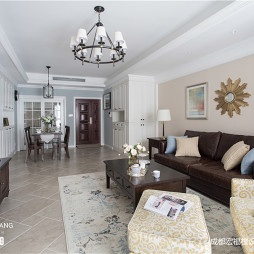 精装美式三居客厅实景图片