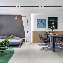 92㎡现代北欧客厅餐厅一体设计