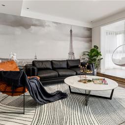 黑白调现代客厅阳台图片