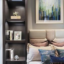 现代样板房卧室储物架图片