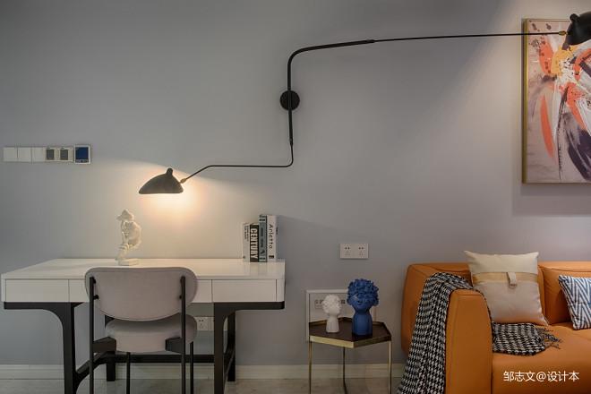 简洁现代客厅书桌图片