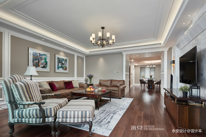 经典美式大客厅设计图