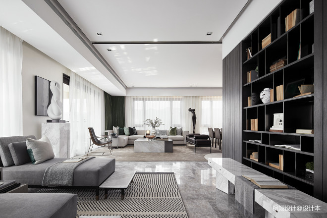 260平大平层样板房客厅设计