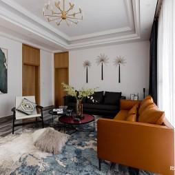 现代自建别墅客厅实景图
