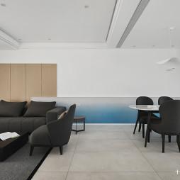 简洁现代别墅客厅餐厅一体设计