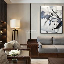 中式四居客厅落地灯图片