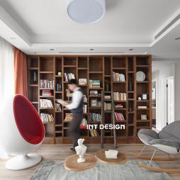 平和简约风客厅书柜实景图片