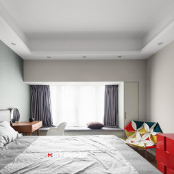 平和简约风卧室飘窗设计