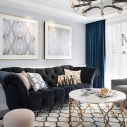 130㎡低奢美式客厅装饰图