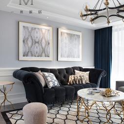 130㎡低奢美式客厅吊灯图片