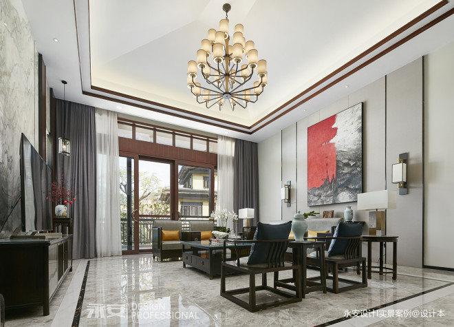 600㎡ 新中式别墅客厅实景图