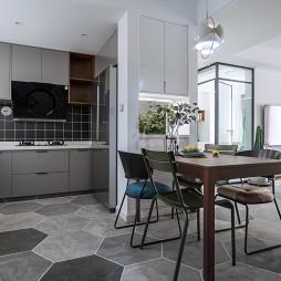 现代风二居餐厅厨房一体设计