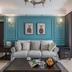 蓝色系美式客厅沙发背景墙设计
