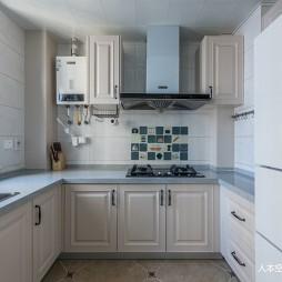 蓝色系美式厨房设计图