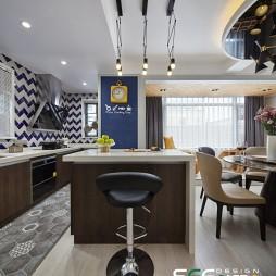 现代厨房中岛台设计图