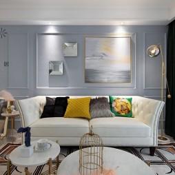清新简美式客厅沙发图