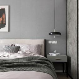 黑白系现代三居卧室吊灯图片