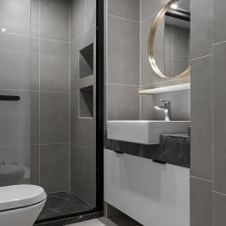 黑白系现代三居卫浴洗手台设计
