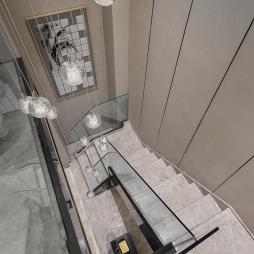 大连璞石墅底跃样板间楼梯设计