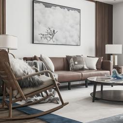 中式现代客厅沙发实景图