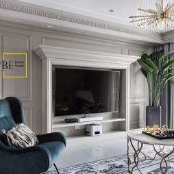 经典美式客厅背景墙设计图片