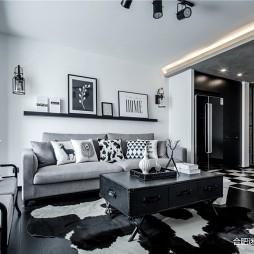 黑白灰工业风客厅置物架实景图片