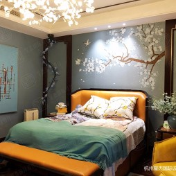 新中式风格别墅装修—卧室图片