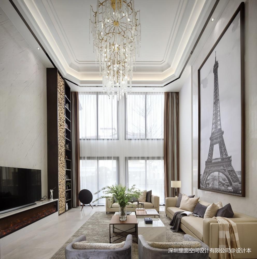 现代极简不仅仅只流行冷调的高级灰——一楼客厅图片
