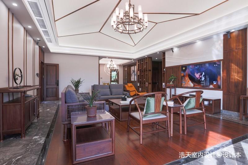180平中式居所,古朴大气淡雅自然——客厅图片