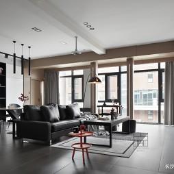 140平米黑白灰,4房改2卧室1书房——客餐厅图片