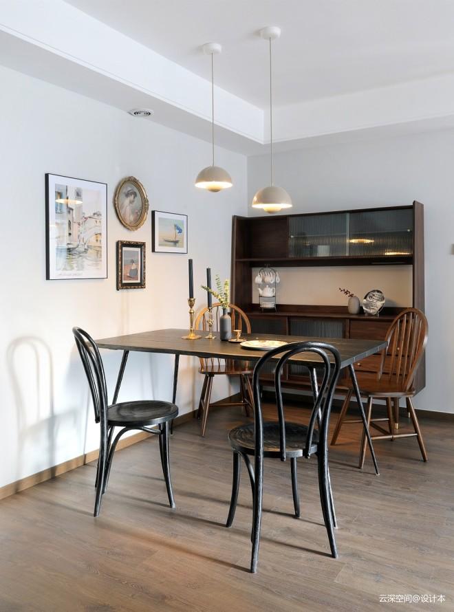 皮革、实木、复古绿-82平餐厅图片