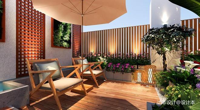 天台花园 效果图_20万元建筑景观30平米装修案例_效果图 - 天台花园设计 - 设计本