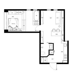 56平米一居室户型图