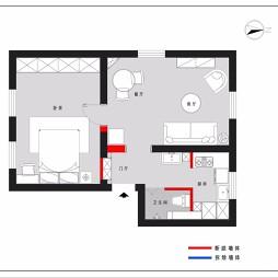 55平米一室户型图