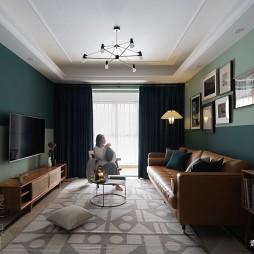客厅深绿色壁纸效果图