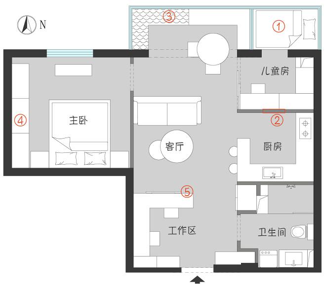 58平米二居室户型图