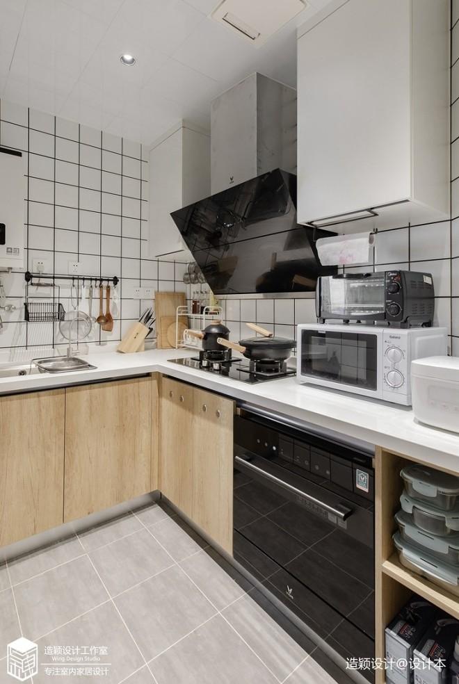 日式风L型厨房图片