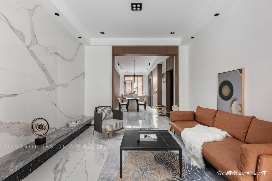 褐色皮沙发客厅效果图