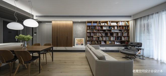 四居室开放厨房+客餐厅,满墙书柜亲子