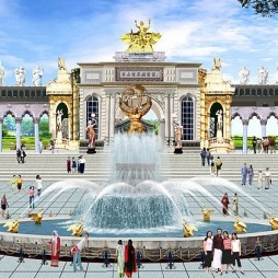 欧式园林喷泉图片