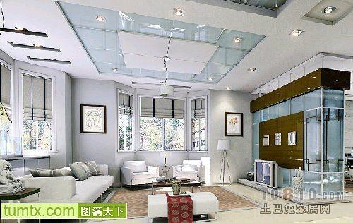 混搭客厅吊顶装修效果图片