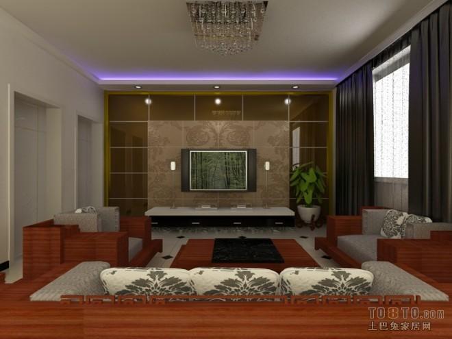 三居室茶色玻璃电视墙效果图