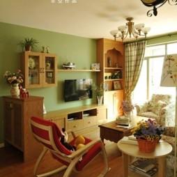 110平米田园风格普通家装客厅组合柜装修效果图