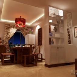 三居室混搭风格餐厅博古架隔断设计