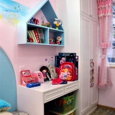 田园风格三居室适合宜家女孩儿童房手绘墙背景墙装修效果图片